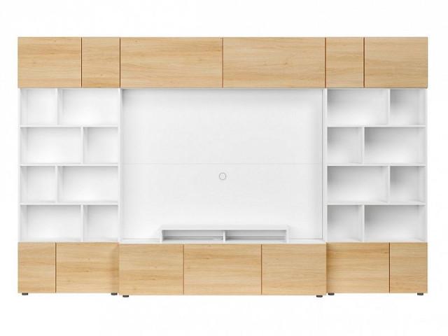 Obývací stěna Muro 320/SYM - bílá Canadian/dub polský