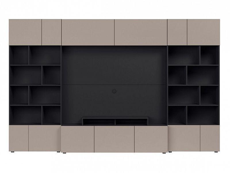 BRW Obývací stěna Muro 320/SYM - černý antracit/šedá congo