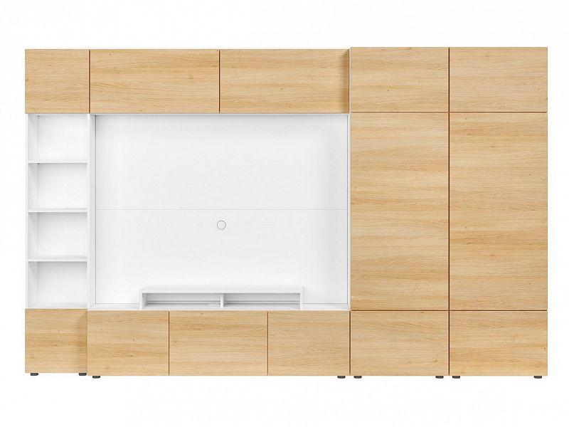 BRW Obývací stěna Muro 320/ZAMK - bílá Canadian/dub polský