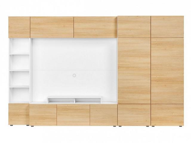 Obývací stěna Muro 320/ZAMK - bílá Canadian/dub polský