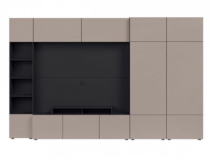 BRW Obývací stěna Muro 320/ZAMK - černý antracit/šedá congo