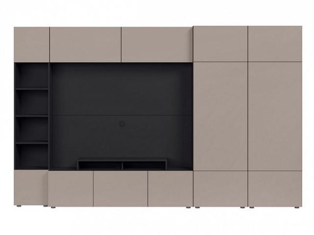 Obývací stěna Muro 320/ZAMK - černý antracit/šedá congo