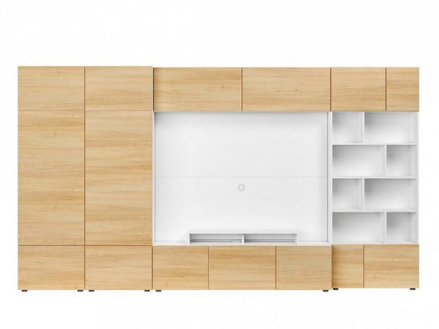 Obývací stěna Muro 360/ZAMK - bílá Canadian/dub polský