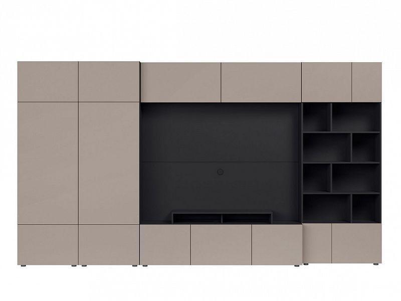 BRW Obývací stěna Muro 360/ZAMK - černý antracit/šedá congo