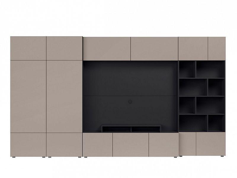 Obývací stěna Muro 360/ZAMK - černý antracit/šedá congo