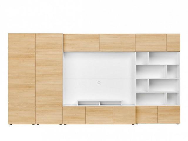 Obývací stěna Muro 380/ZAMK - bílá Canadian/dub polský