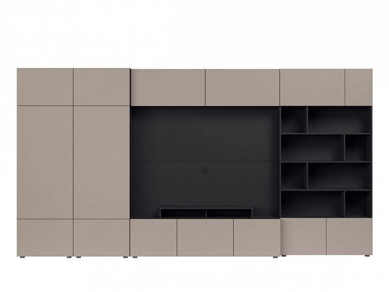 BRW Obývací stěna Muro 380/ZAMK - černý antracit/šedá congo