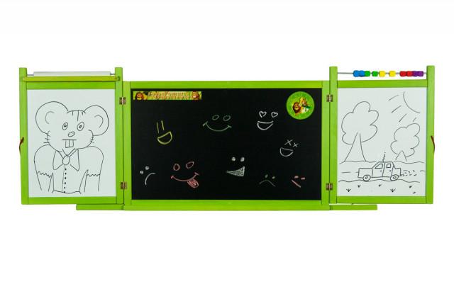 Dětská magnetická/křídová tabule na stěnu - zelená