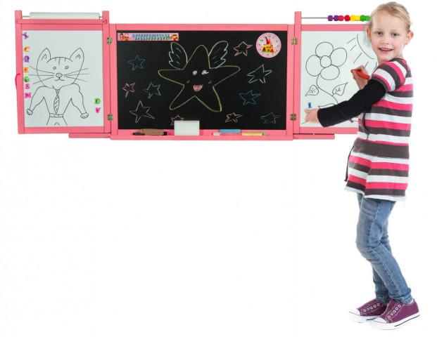 Dětská magnetická/křídová tabule na stěnu - růžová