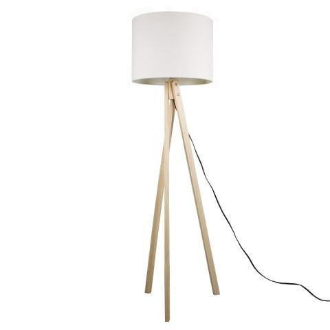 Stojací lampa LILA Typ 6 - bílá / přírodní dřevo