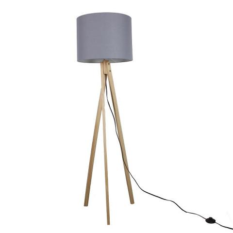 Stojací lampa LILA Typ 7 - šedá / přírodní dřevo