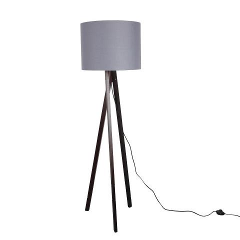 Stojací lampa LILA Typ 10 - šedá / dřevo