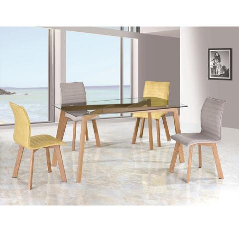 Jídelní stůl PEDREK Typ 3 - sklo / kov s úpravou buk