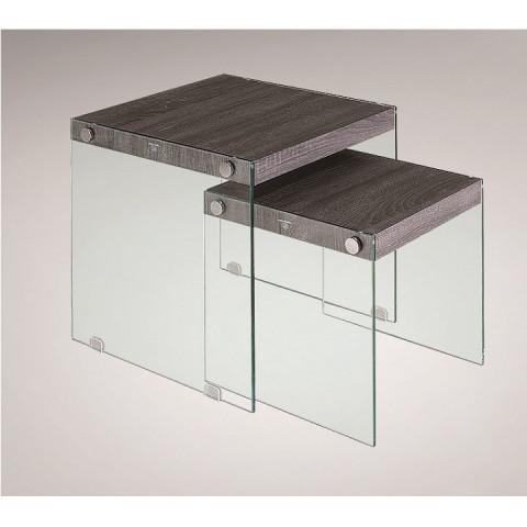 Set 2 odkládacích stolků MOHAN - tvrzené sklo / dřevo