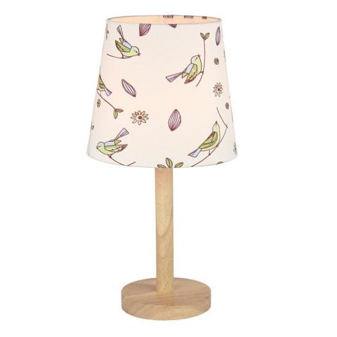 Stolní lampa QENNY TYP 7 - dřevo / látka vzor ptáci