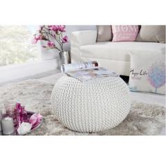 Pletený taburet, smetanová (bílý melír) bavlna, GOBI TYP 1