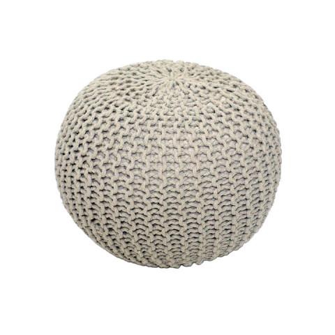 Pletený taburet GOBI TYP 1 - krémová bavlna