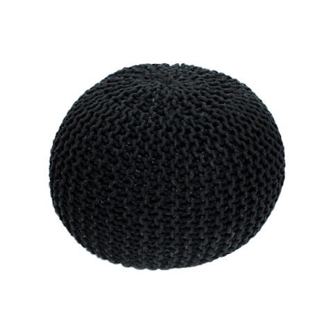 Pletený taburet GOBI TYP 1 - černá bavlna