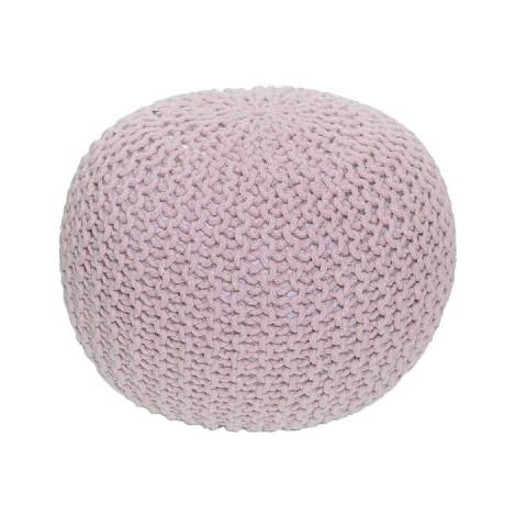 Pletený taburet GOBI TYP 1 - pudrová růžová bavlna
