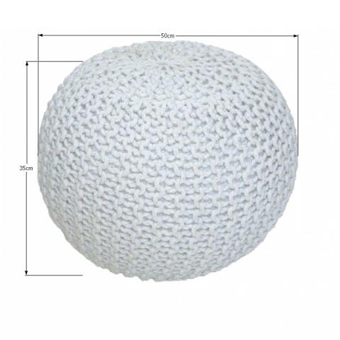 Pletený taburet, smetanová (bílý melír) bavlna, GOBI TYP 2