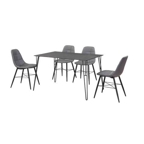Jídelní stůl OBERON - tvrzené sklo / černý kov