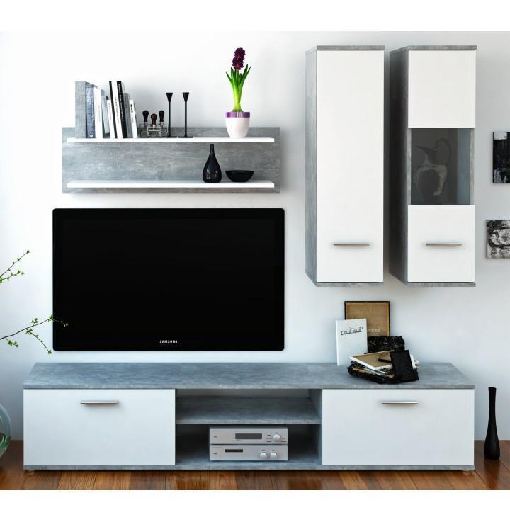 Obývací stěna WAW - beton / bílá - II. jakost