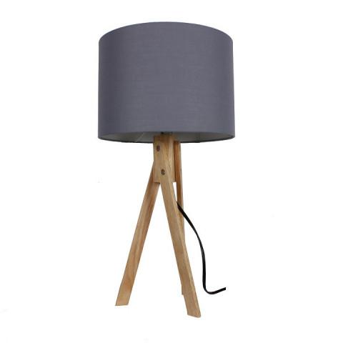Stolní lampa LILA Typ 2 - šedá / přírodní dřevo