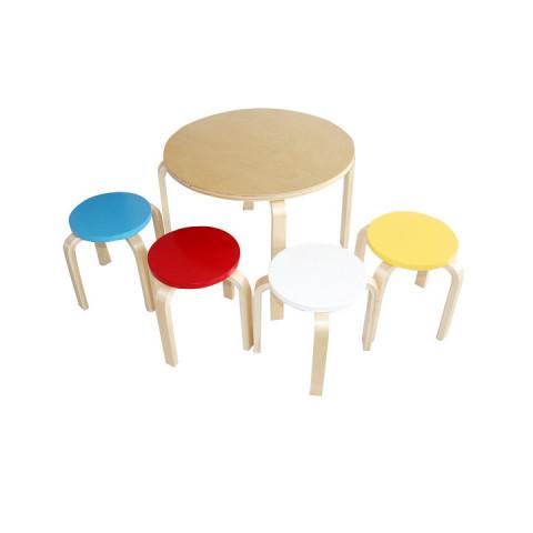Dětský set 1 + 4 SIGRID - březové dřevo, mix barev