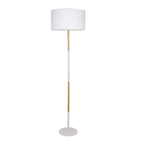 Stojací lampa Cinda Typ 20 - bílý hliník / vzor dřeva