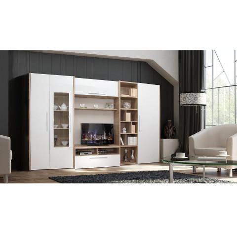Obývací stěna AKONA - dub sonoma / bílá s extra vysokým leskem
