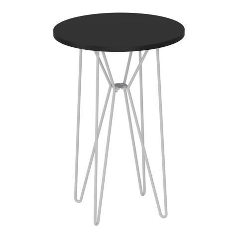Příruční stolek RUBEN - černý dub / bílé kovové nohy
