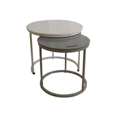 Příruční stolek, bílá / šedá, NERIMAN 2v1