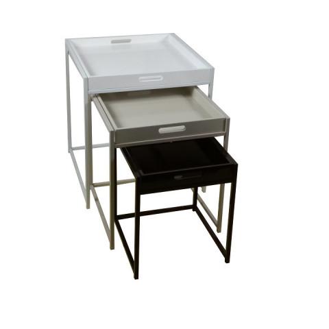Set 3 příručních stolíku BARTON - bílá / šedá / černá