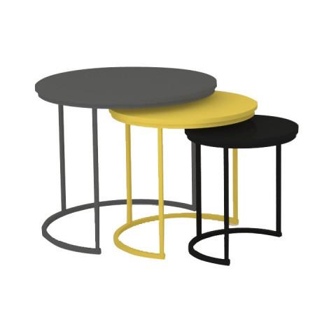 Set tří příručních stolků RONEL - šedá / žlutá / černá