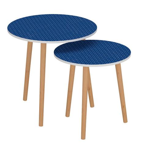 Set dvou příručních stolků BRIX - modrá / bílá