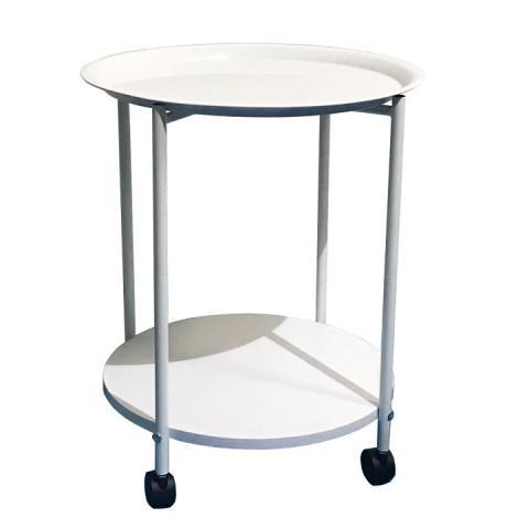 Příruční stolek s kolečky DERIN - bílá