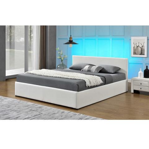 Manželská postel s RGB LED osvětlením JADA 183x200 - bílá