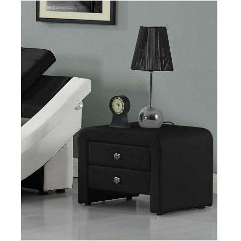 Noční stolek WILSON - ekokůže, černá