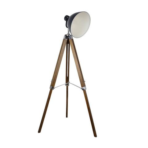 Stojací lampa Cinda Typ 27 - černý kov / dřevo