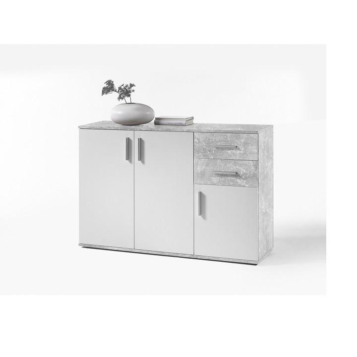 Tempo Kondela Komoda POPPY 2 - bílá / beton + kupón KONDELA10 na okamžitou slevu 3% (kupón uplatníte v košíku)