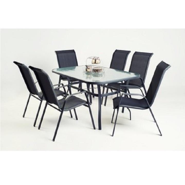 Jídelní stůl DEMAT - tvrzené sklo / ocel