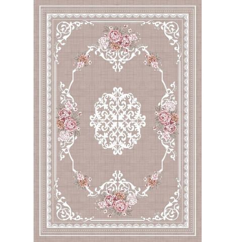 Koberec Sedef 80x150 - světlehnědý / vzor květiny
