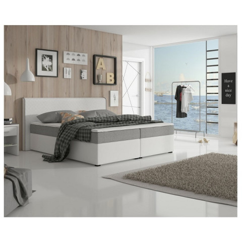 Postel NOVARA KOMFORT 180x200 - šedá látka / bílá ekokůže