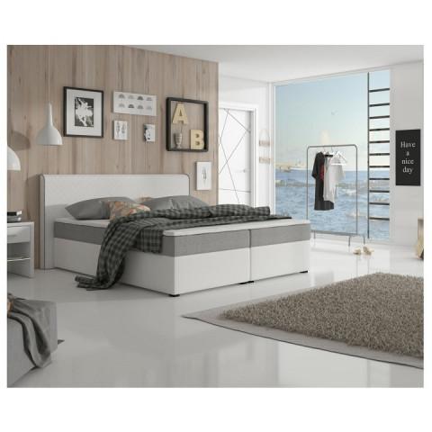Postel NOVARA MEGAKOMFORT 160x200 - šedá látka / bílá ekokůže