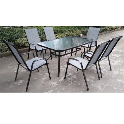 Jídelní stůl PASTER - tvrzené sklo / ocel