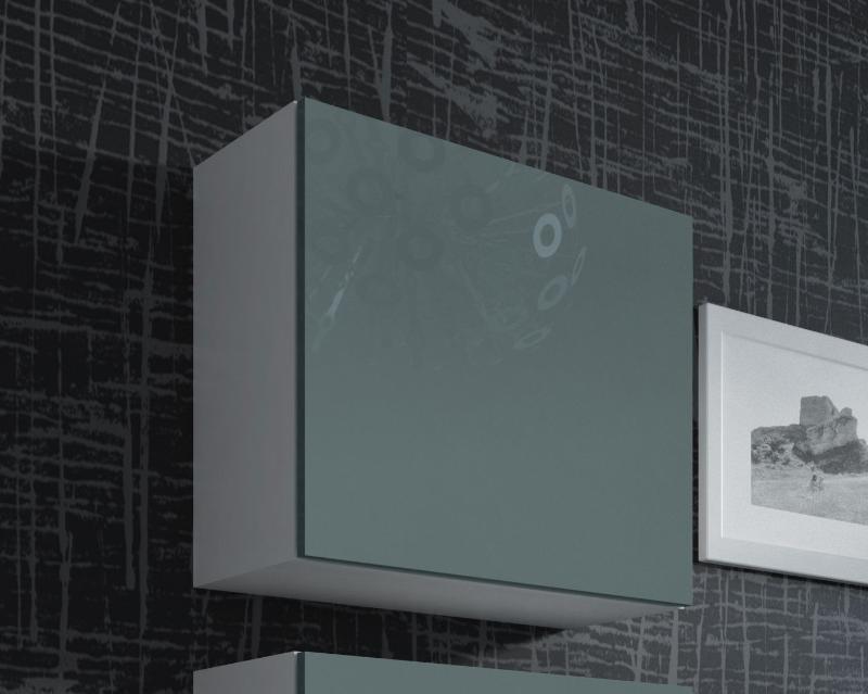 Vitrína VIGO kwadrat, plná - bílá/šedá