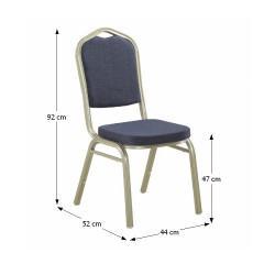Židle, stohovatelná, látka šedá / rám champagne, ZINA 2 NEW
