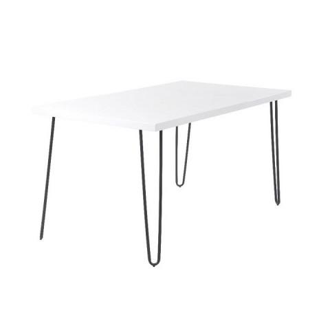 Jídelní stůl KURT - bílá extra vysoký lesk / kov