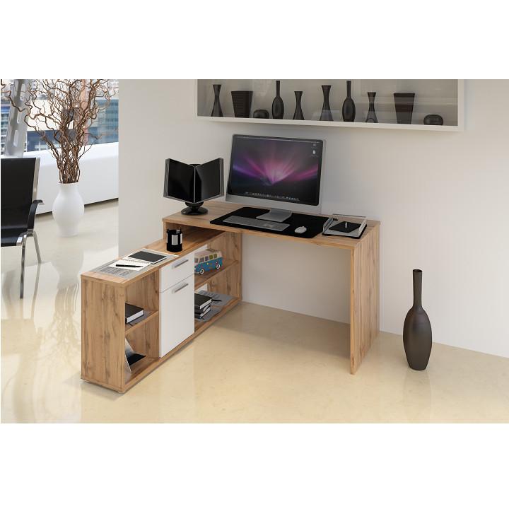 Tempo Kondela PC stůl NOE NEW - dub Wotan / bílá + kupón KONDELA10 na okamžitou slevu 3% (kupón uplatníte v košíku)