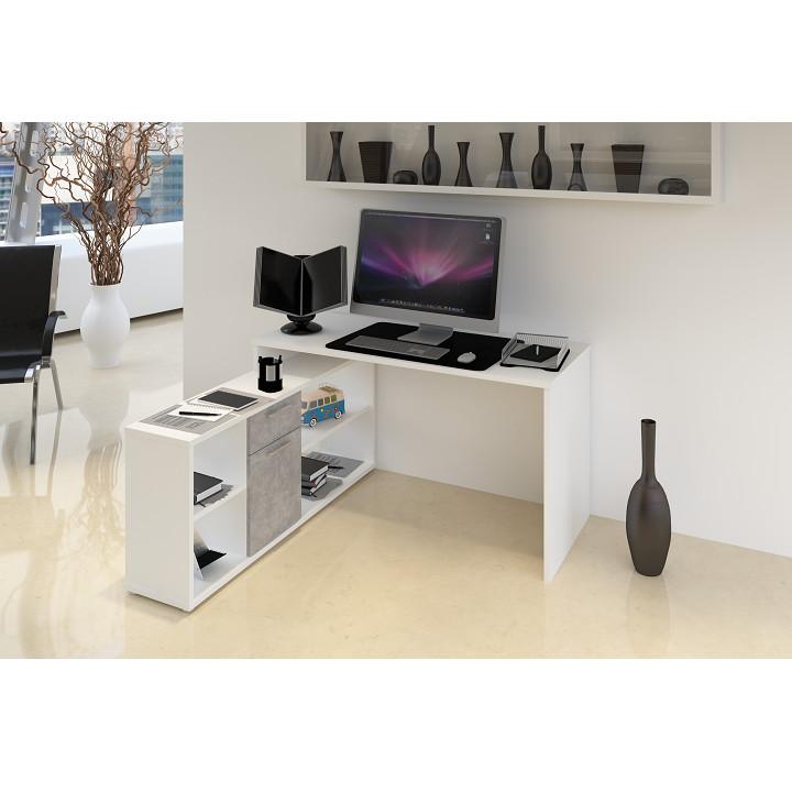 Tempo Kondela PC stůl NOE NEW - bílá / beton + kupón KONDELA10 na okamžitou slevu 3% (kupón uplatníte v košíku)